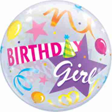 Birthday Girl Party Hat Single Bubble 22in/55cm