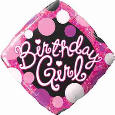 Birthday Girl Pink and Black Foil Diamond Expression 18in/45cm