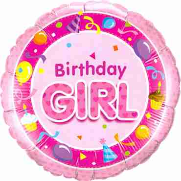 Birthday Girl Pink Foil Round 18in/45cm