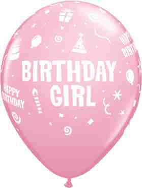 Birthday Girl Standard Pink Latex Round 11in/27.5cm