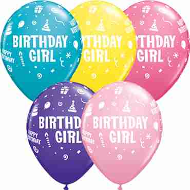 Birthday Girl Standard Yellow, Standard Pink, Fashion Purple Violet, Fashion Tropical Teal and Fashion Rose Assortment Latex Round 11in/27.5cm