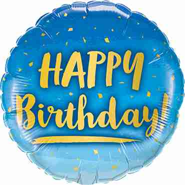 Birthday Gold and Blue Foil Round 18in/45cm