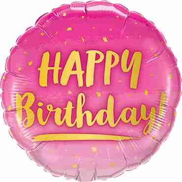 Birthday Gold and Pink Foil Round 18in/45cm