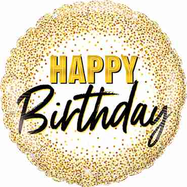 Birthday Gold Glitter Dots Foil Round 18in/45cm