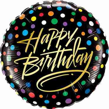 Birthday Gold Script and Dots Foil Round 18in/45cm