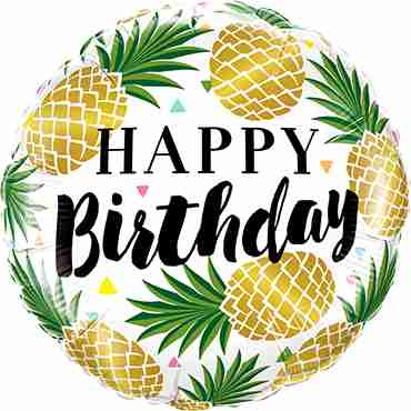 Birthday Golden Pineapples Foil Round 18in/45cm