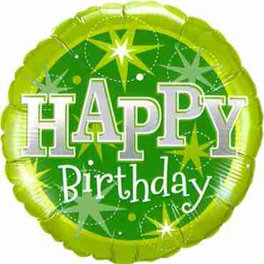 Birthday Green Sparkle Foil Round 18in/45cm