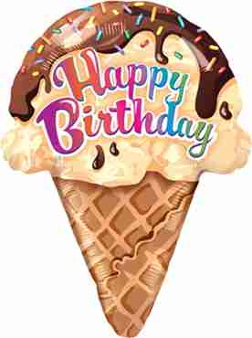 birthday ice cream cone foil shape 27in/69cm