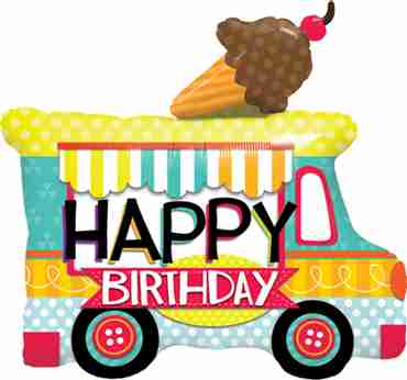 Birthday Ice Cream Truck Foil Shape 36in/90cm