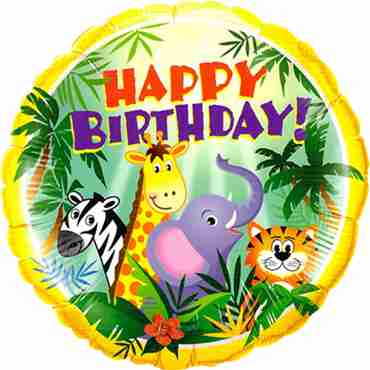 Birthday Jungle Friends Foil Round 18in/45cm