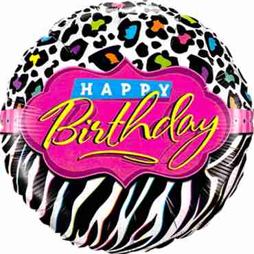 Birthday Leopard Zebra Patterns Foil Round 18in/45cm
