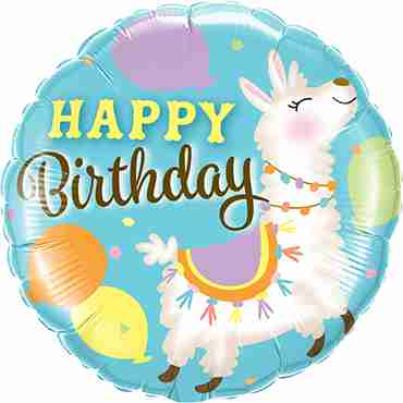 Birthday Llama Foil Round 18in/45cm