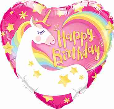 Birthday Magical Unicorn Foil Heart 18in/45cm