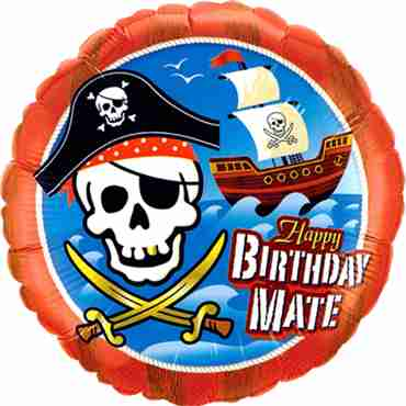 birthday mate pirate ship foil round 18in/45cm