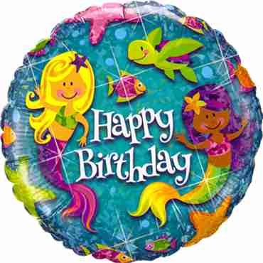 birthday mermaids holographic foil round 18in/45cm