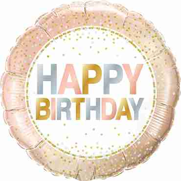 Birthday Metallic Dots Foil Round 18in/45cm