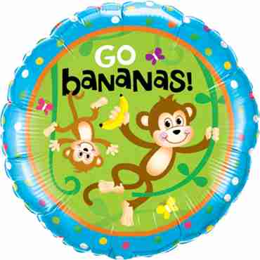 Birthday Monkeys - Go Bananas Foil Round 18in/45cm