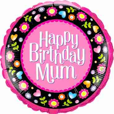 birthday mum pink and floral border foil round 18in/45cm