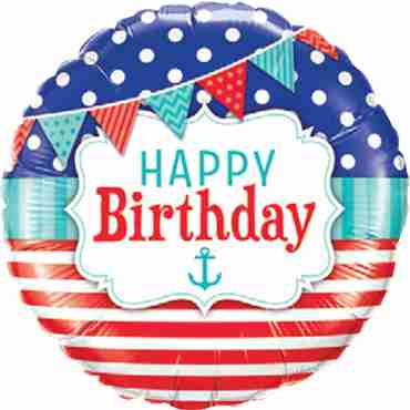 birthday nautical and pennants foil round 18in/45cm