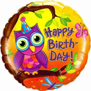 Birthday Owl Foil Round 18in/45cm