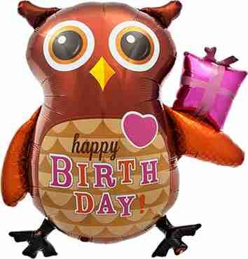 Birthday Owl Foil Shape 36in/91cm