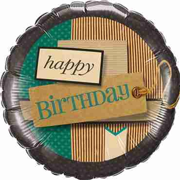 Birthday Paper Patterns Foil Round 18in/45cm
