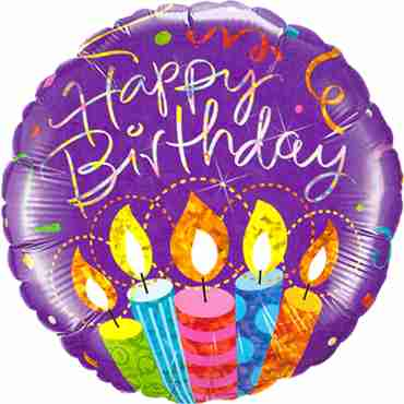 Birthday Party Candles Holographic Foil Round 18in/45cm