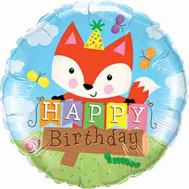 Birthday Party Fox Foil Round 18in/45cm