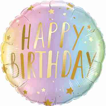 Birthday Pastel Ombre and Stars Foil Round 18in/45cm
