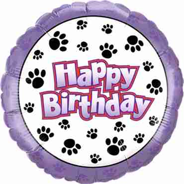 Birthday Paw Prints Foil Round 18in/45cm