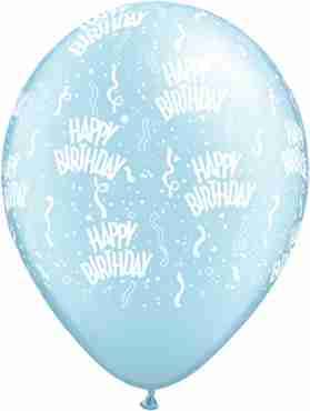 Birthday Pearl Light Blue Latex Round 11in/27.5cm