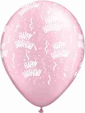 Birthday Pearl Pink Latex Round 11in/27.5cm