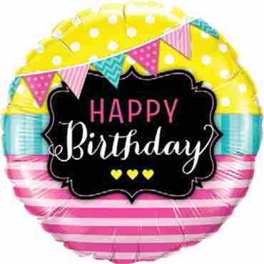 Birthday Pennants and Pink Stripes Foil Round 18in/45cm