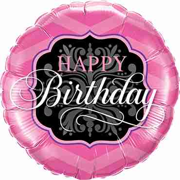Birthday Pink and Black Foil Round 9in/22.5cm