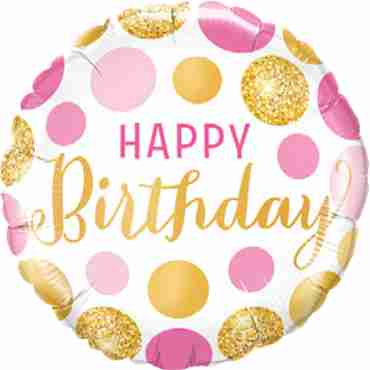 Birthday Pink and Gold Dots Foil Round 18in/45cm