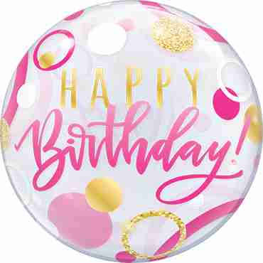 Birthday Pink and Gold Dots Single Bubble 22in/55cm