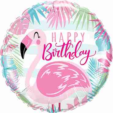Birthday Pink Flamingo Foil Round 18in/45cm