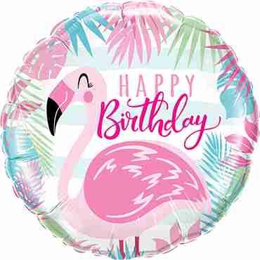 Birthday Pink Flamingo Foil Round 18in/45cm