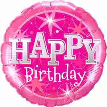 Birthday Pink Sparkle Foil Round 18in/45cm