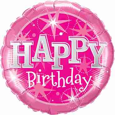 Birthday Pink Sparkle Foil Round 36in/90cm