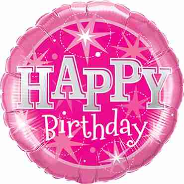 Birthday Pink Sparkle Foil Round 9in/22.5cm