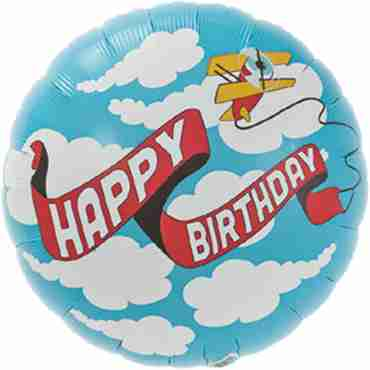 Birthday Plane Banner Foil Round 18in/45cm