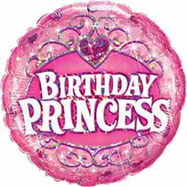 birthday princess holographic foil round 9in/22.5cm