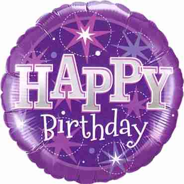 Birthday Purple Sparkle Foil Round 18in/45cm