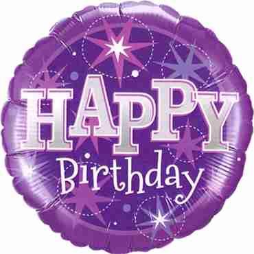 Birthday Purple Sparkle Foil Round 18in/45cm