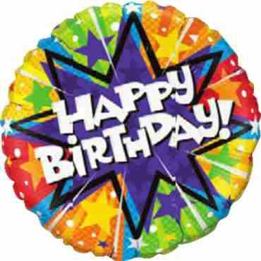 Birthday Radiant Blast Foil Round 9in/22.5cm