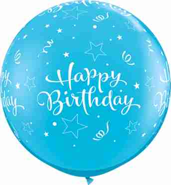 Birthday Shining Star Fashion Robins Egg Blue Latex Round 36in/90cm