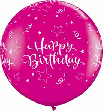 Birthday Shining Star Fashion Wild Berry Latex Round 36in/90cm
