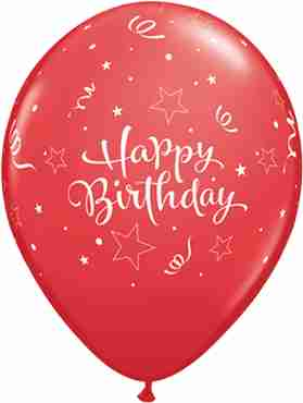 Birthday Shining Star Standard Red Latex Round 11in/27.5cm