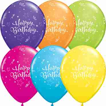 Birthday Shining Star Tropical Assortment Latex Round 11in/27.5cm